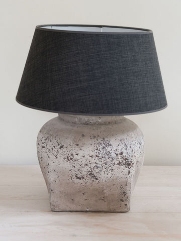Aged Stone effect Table lamp with Grey linen shade