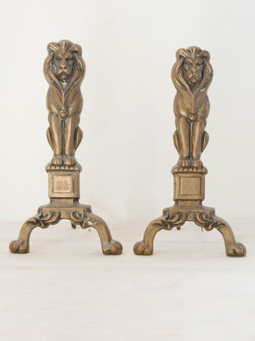 Pair of Victorian Brass Lion Andirons/Firedogs