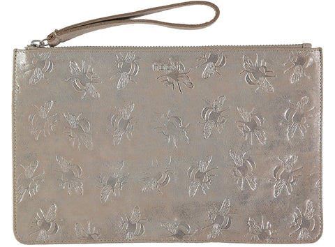 Lissa Embossed Bee Clutch clutch - Silver