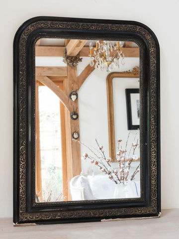 Antique French Ebonised and Silver Gilt Louis Philippe Mirror - Decorative Antiques UK  - 1