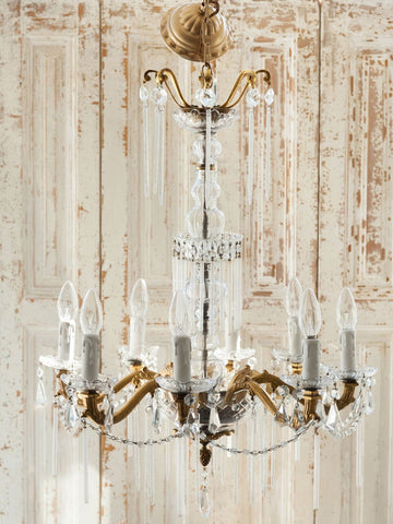 Incredible 1920's Italian Crystal Glass Chandelier