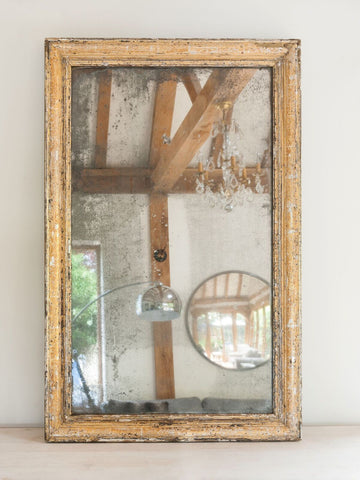 Antique French Silver And Gold Gilt Mercury Glass Mirror