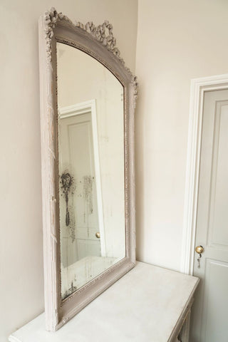 Antique French Bow Garland topped Painted mirror