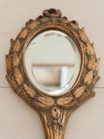 Antique French Gilt Hand Mirror - Decorative Antiques UK  - 1