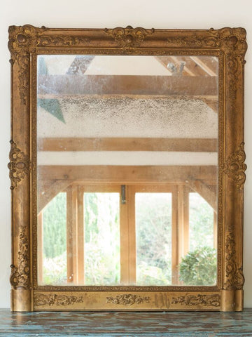 Antique 19th Century Rectangular French Gilt Mirror - Decorative Antiques UK  - 1