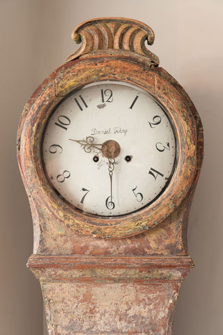 Antique Swedish Dry Scraped Mora Clock signed Daniel Triang