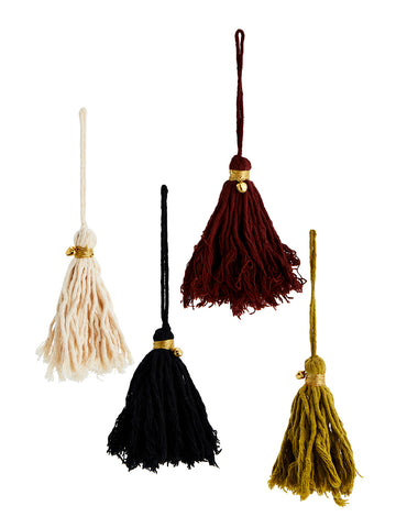 Set of 4 Cotton tassels with gold bell