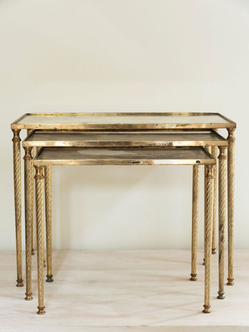 Mid Century French Brass Nesting tables with Verre eglomise tops