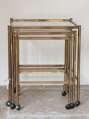 Beautiful Mid Century Italian Brass and Glass nesting tables on castors - Decorative Antiques UK  - 1