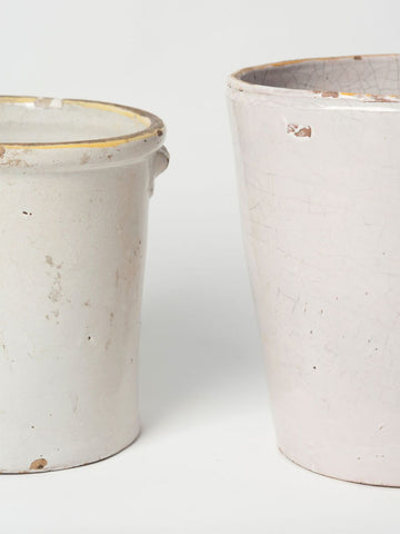 Antique Italian Olive Confit pots with white glaze