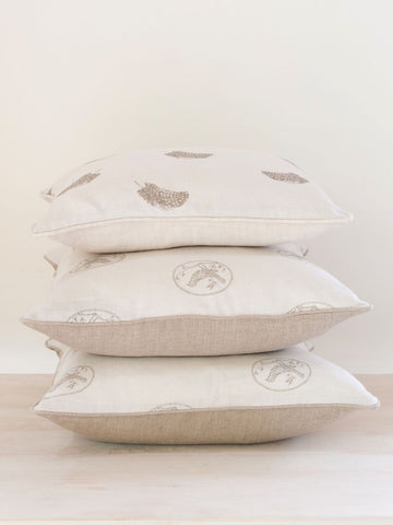 Beautiful Handmade Peony and Sage Linen Cushions