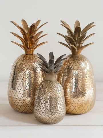 Trio Mid Century Brass Pineapples - Decorative Antiques UK  - 1
