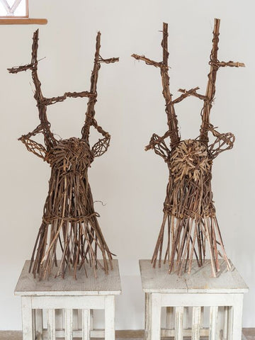 Pair Willow Stag Heads - Decorative Antiques UK  - 1