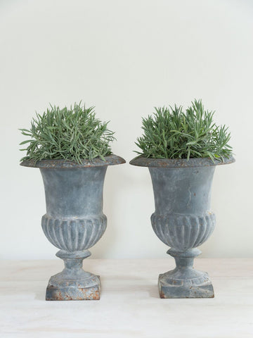 Beautiful Pair Vintage French Cast Iron Urns