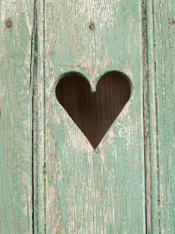 Antique French Wooden Shutters with Cut out Heart detail