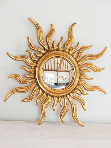 Mid Century French Sunburst Mirror with Convex Glass
