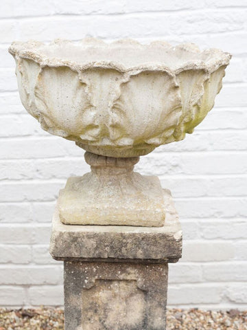 Pair 1930's Acanthus Leaf Stone Urns on Plinths