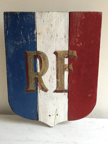 Vintage French Republique Francais Flag Shield - Decorative Antiques UK  - 1