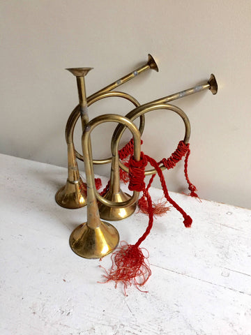 Trio Vintage French Small brass bugles - Decorative Antiques UK  - 1