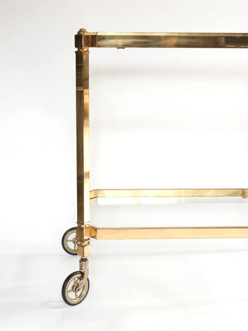 Lovely 1950's German Brass and Glass Drinks Trolley