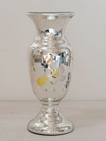 Lovely Vintage French Mercury Glass handpainted vase - Decorative Antiques UK  - 1