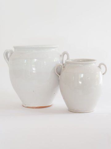 Antique 19th Century French White Glaze Confit Pots