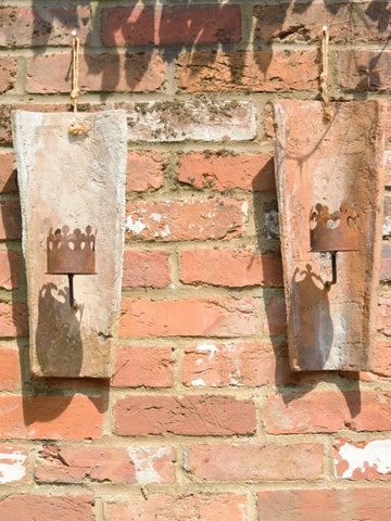 Antique French Terracotta Roof Tile Candle Wall sconce