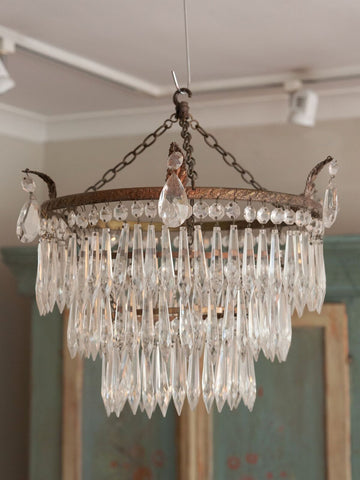 Beautiful 1920's Crystal Waterfall Tiered Pendant Chandelier
