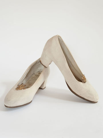 Vintage French Linen Wedding shoes from the 1930's