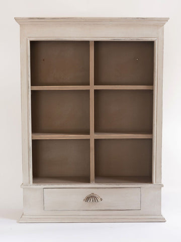 Beautiful Painted Vintage Pigeon hole Wall unit with single drawer