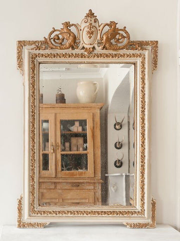 Antique French Napoleon III Painted Mirror - Decorative Antiques UK  - 1
