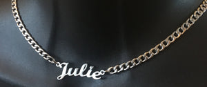 Personalized, link chain name necklace.  A link chain necklace that is personalized with your name and preferences. You pick the color, length, and name for this trendy necklace.