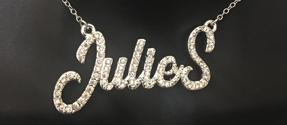 Diamond bling, personalized cursive name necklace. A diamond name necklace that is personalized with your name and preferences. You pick the color, length, and name for the necklace.