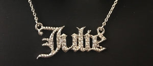 Old English, diamond name necklace.  A diamond name necklace, made with cubic zirconias, that is personalized with your name and preferences.  You choose between gold, silver, and rose gold, you choose the length for the necklace, and you choose the name