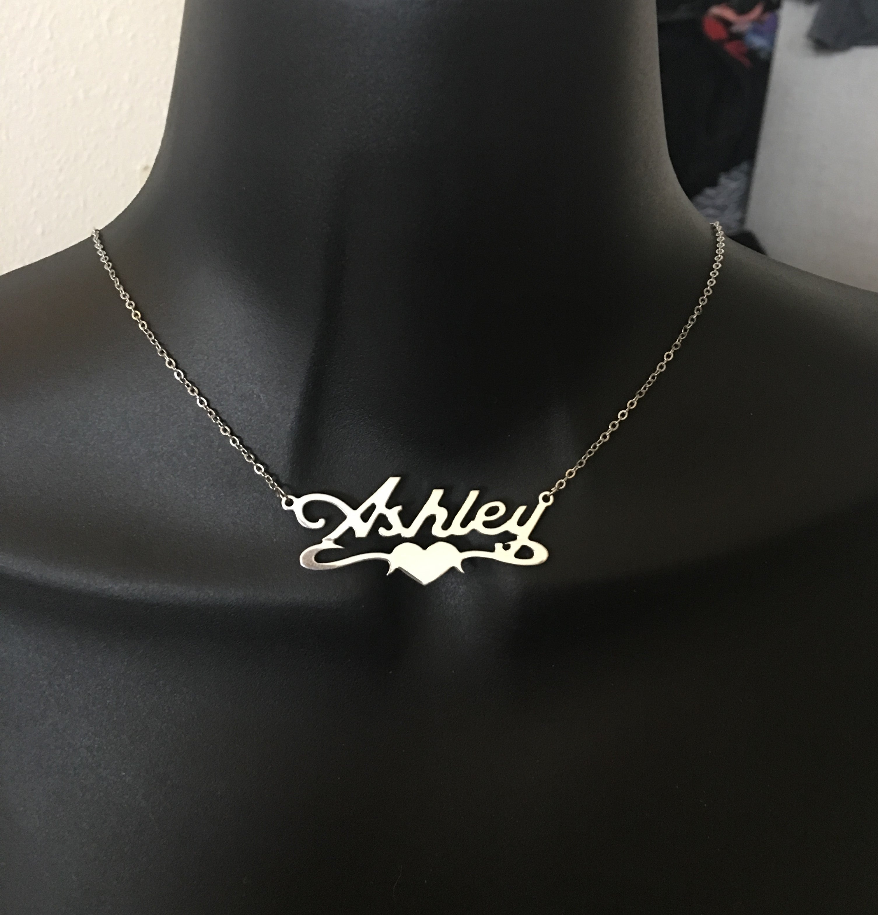 Personalized, name with heart underneath, name necklace
