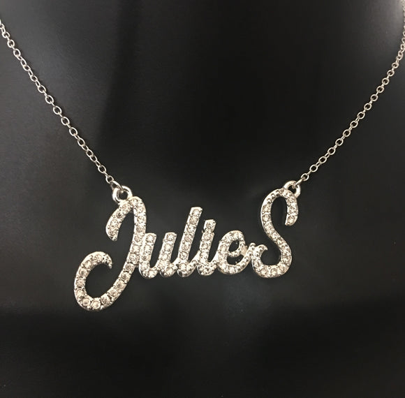 Diamond bling, personalized cursive name necklace - rhinestonecandystore
