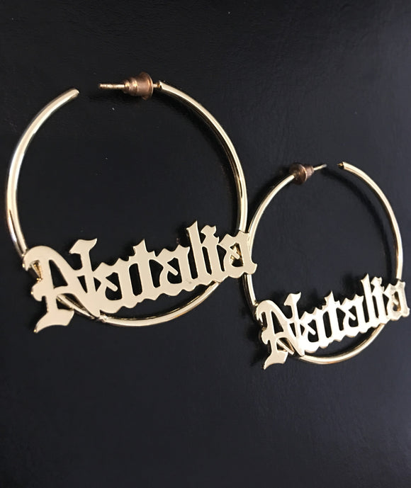 70mm, 3 1/2 inch,  Old English hoop name earrings - rhinestonecandystore