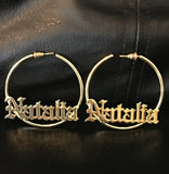 Personalized, 2 inch, Old English hoop name earrings - rhinestonecandystore