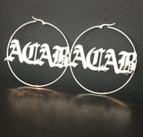 Huge, Old English, 3 1/2 inch hoop name earrings!!!!!!! - rhinestonecandystore