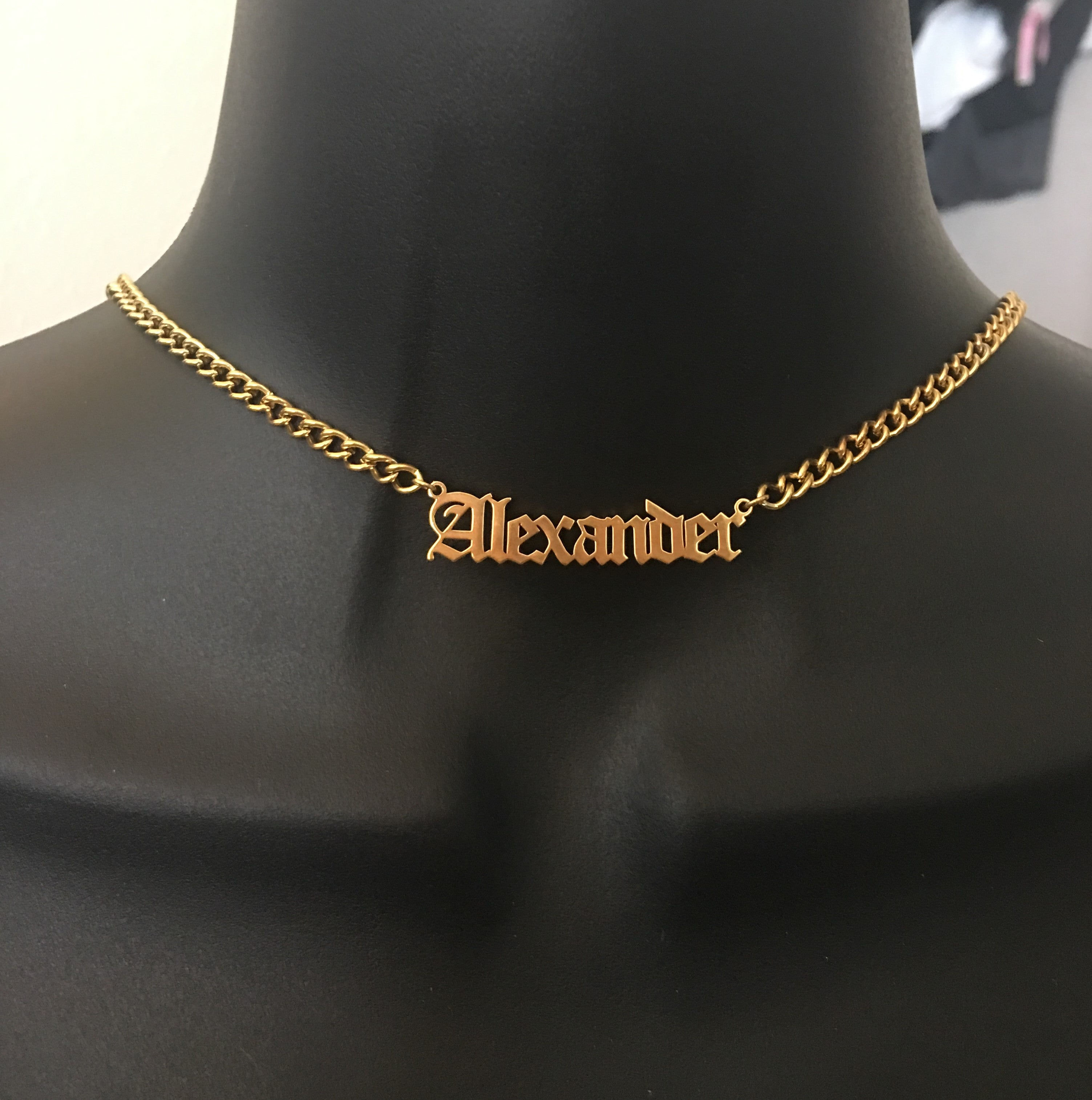 Personalized, Old English, choker style name necklace