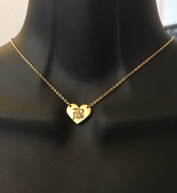 Personalized, Old English heart initial necklace - rhinestonecandystore