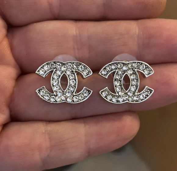 Chanel logo earrings - rhinestonecandystore