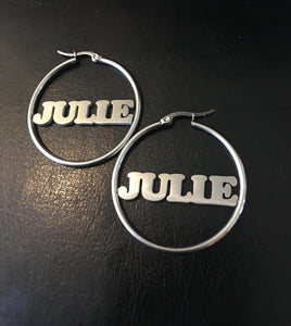 Personalized, 40mm hoop name earrings - rhinestonecandystore