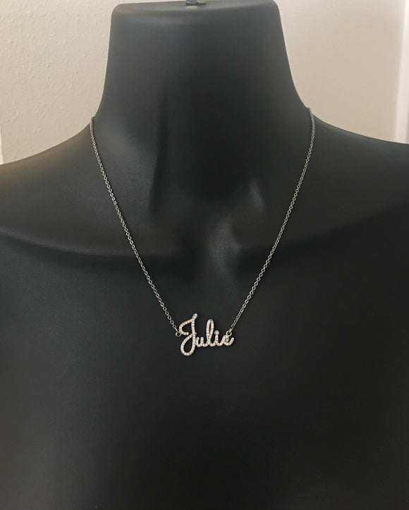 Diamond script name necklace - rhinestonecandystore