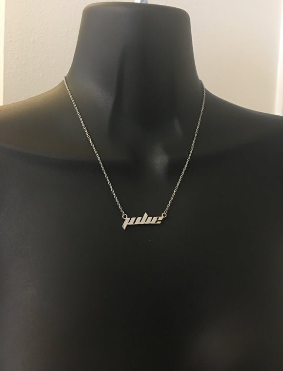 Futuristic font name necklace - rhinestonecandystore