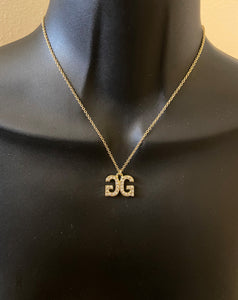 Backwards diamond initial necklace - rhinestonecandystore