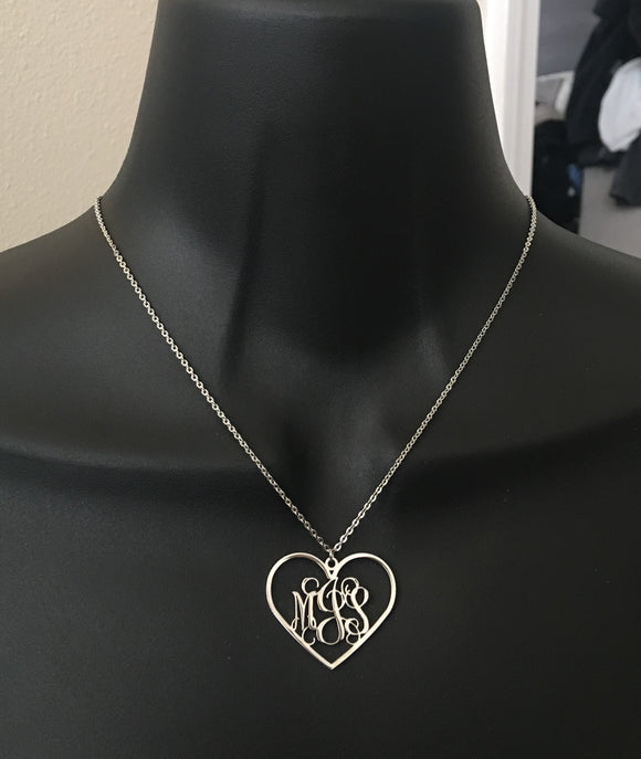 Personalized, heart monogram initial necklace - rhinestonecandystore