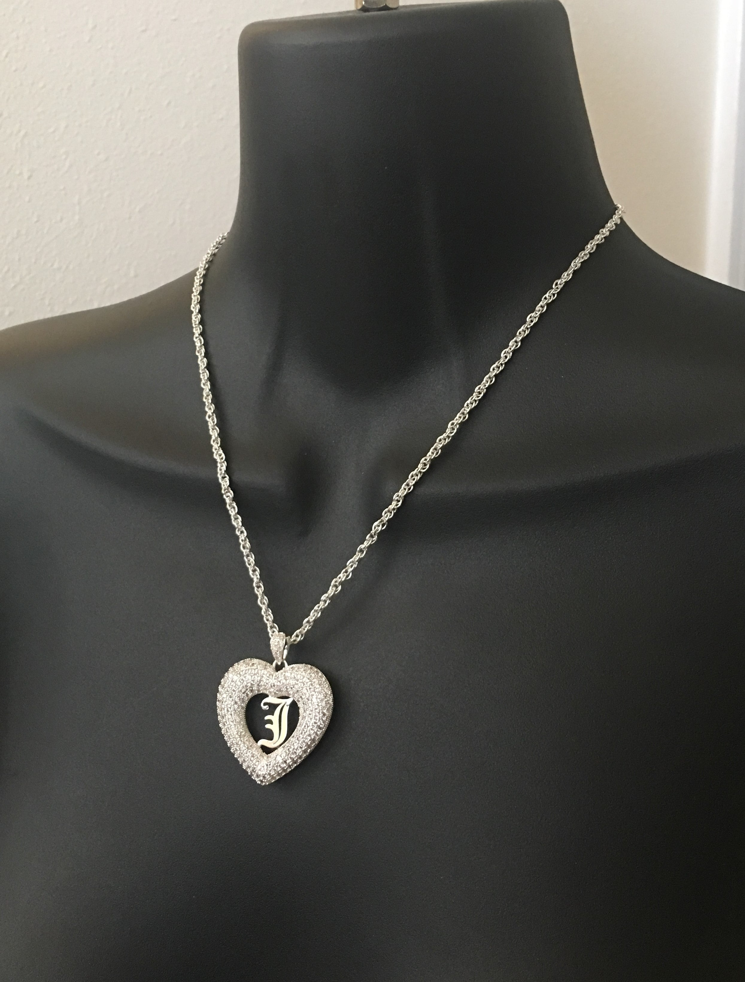 Old English, heart pendant initial necklace