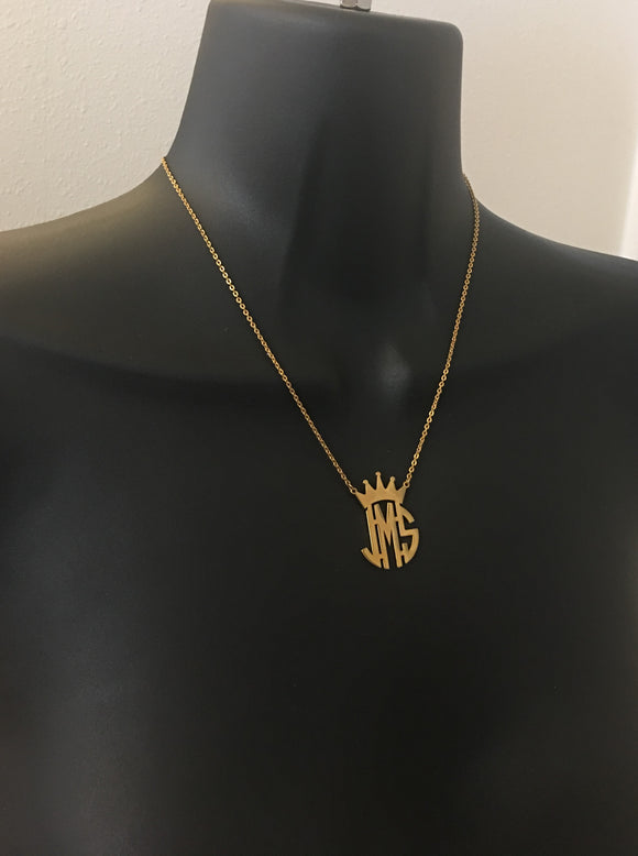 Crown monogram initial necklace - rhinestonecandystore