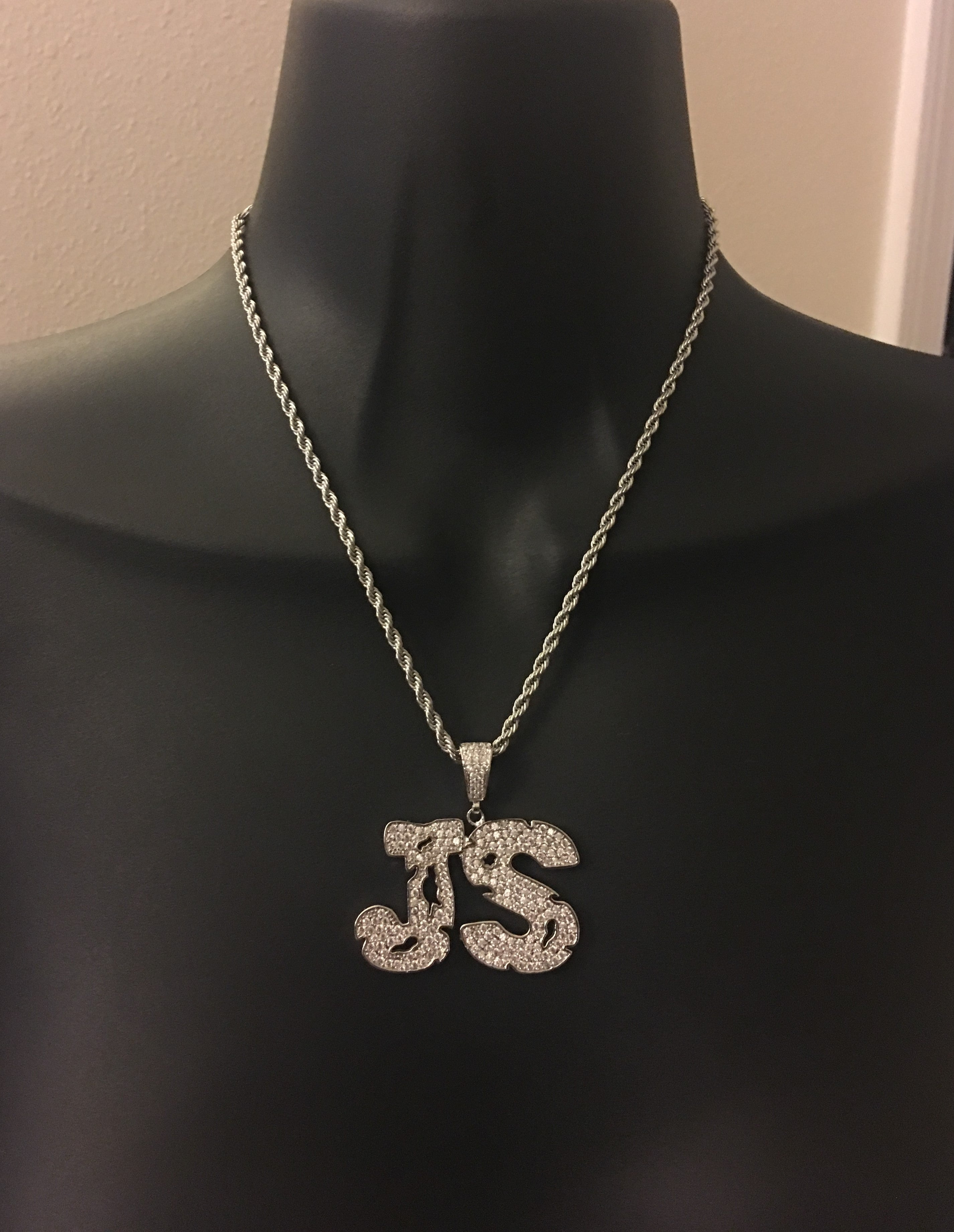 Block letters, diamond name necklace